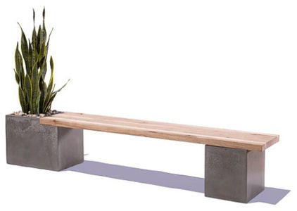 Patio Bench created of Wood and Concrete Examples