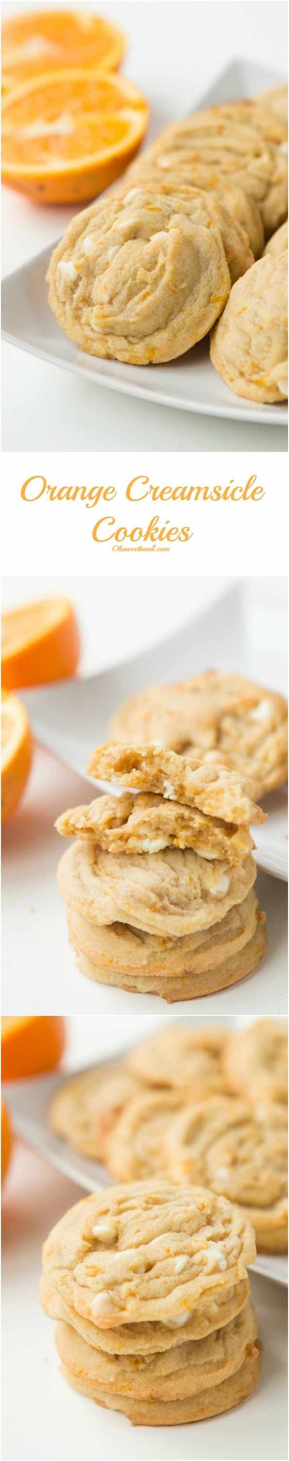 These orange creamsicle cookies taste just like your favorite creamsicle popsicles!! ohsweetbasil.com