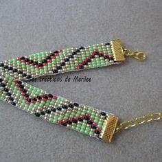 Bracelet en perles de rocaille tissé main 4