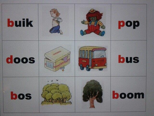 Beginklank b, d en p memory. Zoek het woord bij het plaatje. Spel voor groep 3. Goede oefening voor kinderen die moeilijk onderscheid kunnen met de beginletters. Te downloaden van digischool.