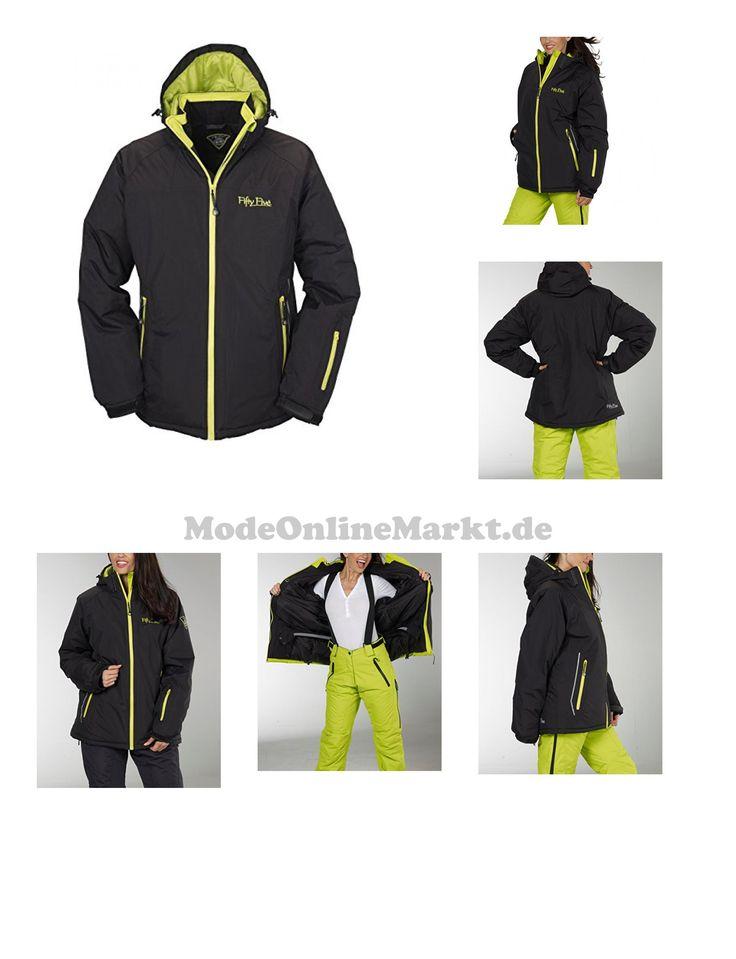 4250205444826   #Ski-Jacke #Snowboard-Jacken #für #Damen #von #Fifty #Five  #8211; #Glory #black/lime #34  #8211; #winddicht und #wasserdicht mit #FIVE-TEX #Membrane #für #Outdoor-Bekleidung