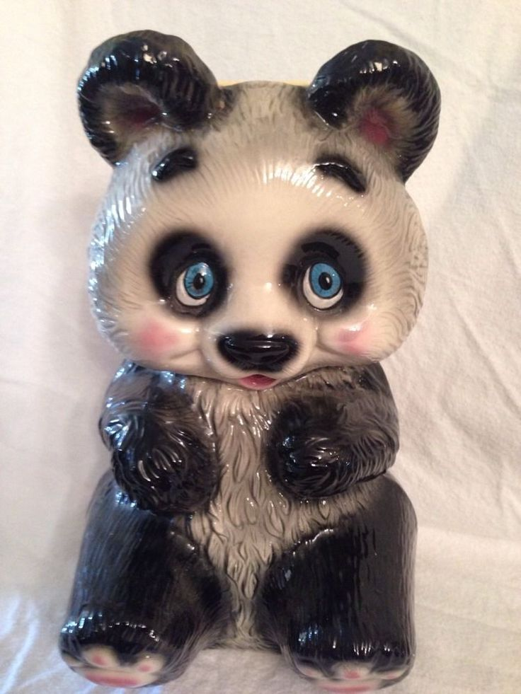 Vintage Ceramic Panda Bank Big High Gloss Nice Detail