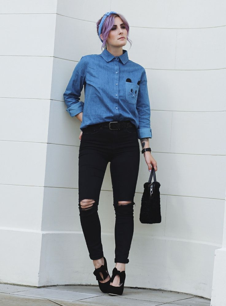 Lola Ramona Bow Heels, Jeansshirt, Office Look, High Heels, lila Haare, Like A Riot, Mode Blog,  Katzenohren Tasche, Fashion Blog, Fall Outfit, Fall Style