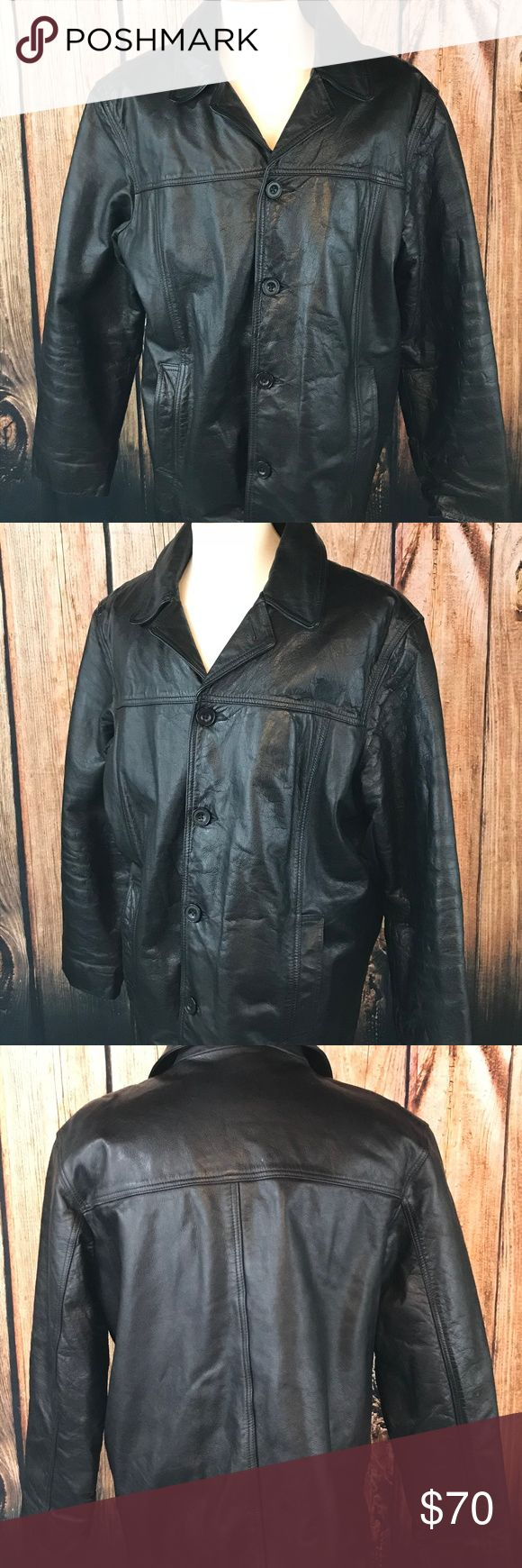 J Crew Mens Leather Jacket Size Large Wool Liner J Crew Mens Leather Jacket Size Large Wool Liner Black Button Front Side Pockets Size: Large  Material: 100% Leather; Body Liner-Wool Blend  Item is pre-owned.  Distressing from use while motorcycle riding. Needs to be cleaned.     Measurements Laying Flat:  Armpit to Armpit-23 inches  Length-30 inches        CL 20 J. Crew Jackets & Coats Bomber & Varsity