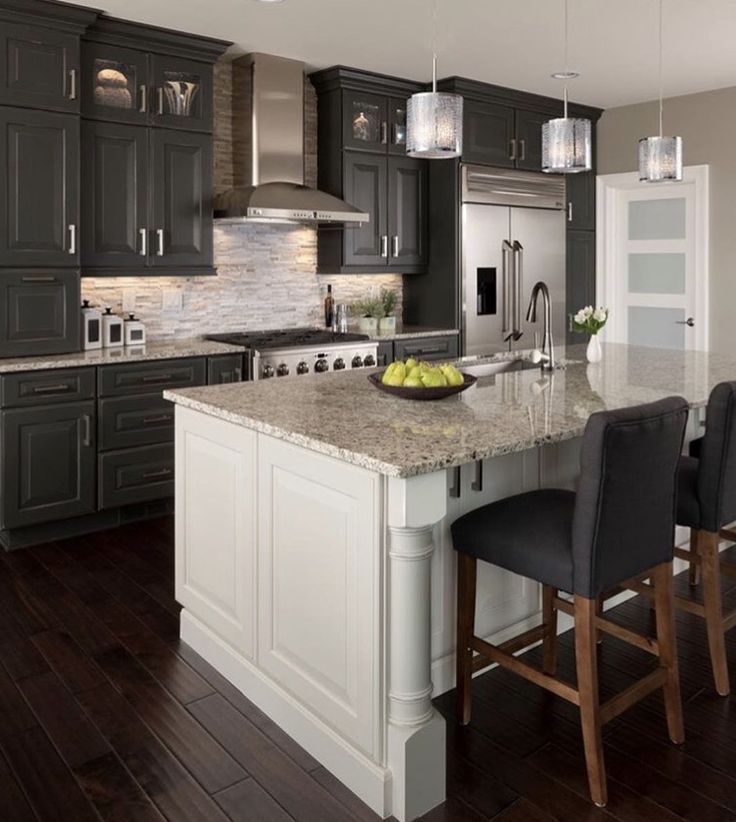 dark gray cabinets with white island granite countertops and a dark hardwood floor on kitchen remodel dark floors id=94883