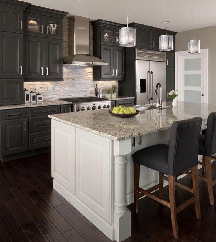 Best Dark Gray Cabinets With White Island Granite Countertops 400 x 300