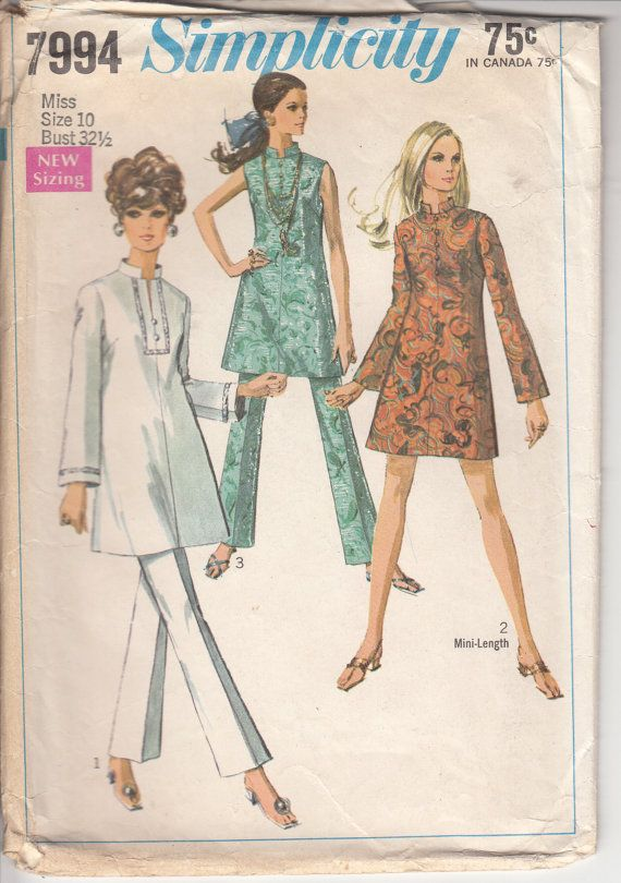 Vintage 60s Pattern Sewing Minidress, Tunic and Bell Bottom Pants by HoneymoonBus, $7.99