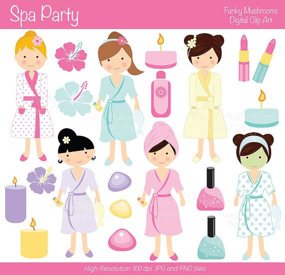 Digital Clipart - Girls Spa Party for Scrapbooking, Invitations, Paper crafts, Cards Making, commercial use INSTANT DOWNLOAD printable