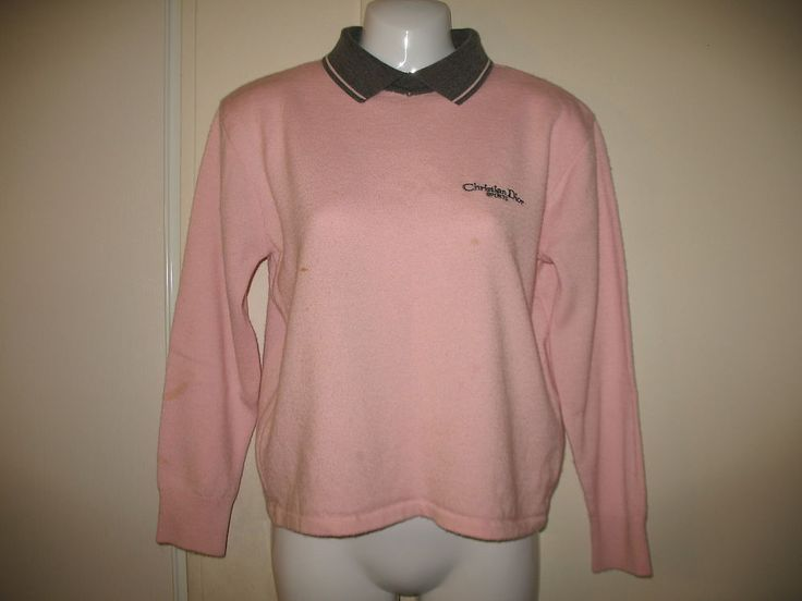 Vintage Womens Christian Dior Sports Pink and Gray Long Sleeve Sweater, Medium #ChristianDior #Collared