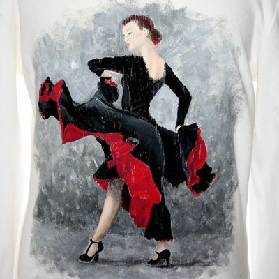 Hand painted t shirt. I use non-toxic, water based, permanent fabric colors. | A flamenco dancer in a black and red dress.