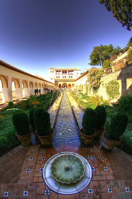 Sprinkling waters of the Generalife, The Alhambra in Granada, Andalusia, Spain