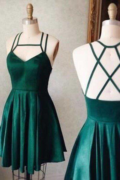 Green satins short dresses,sexy open back mini party dresses