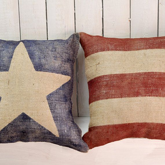 American Flag Pillows - Burlap Pillow Set - Beach House Cabin Decor - 16 x 16 Inches - Family Room - Custom Order - Patriotic