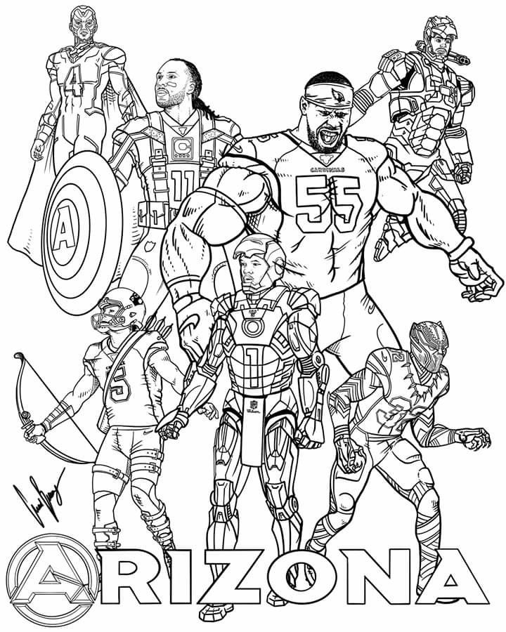 Pin By Rhonda Tickle On Football Coloring Pages Arizona Cardinals Animal Coloring Pages