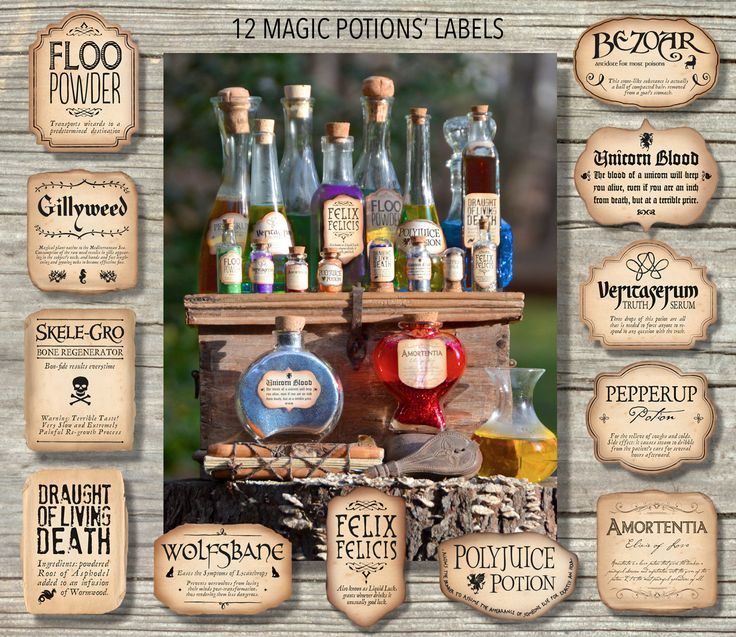 12 Harry Potter Inspired Magic Potions Labels / Printable