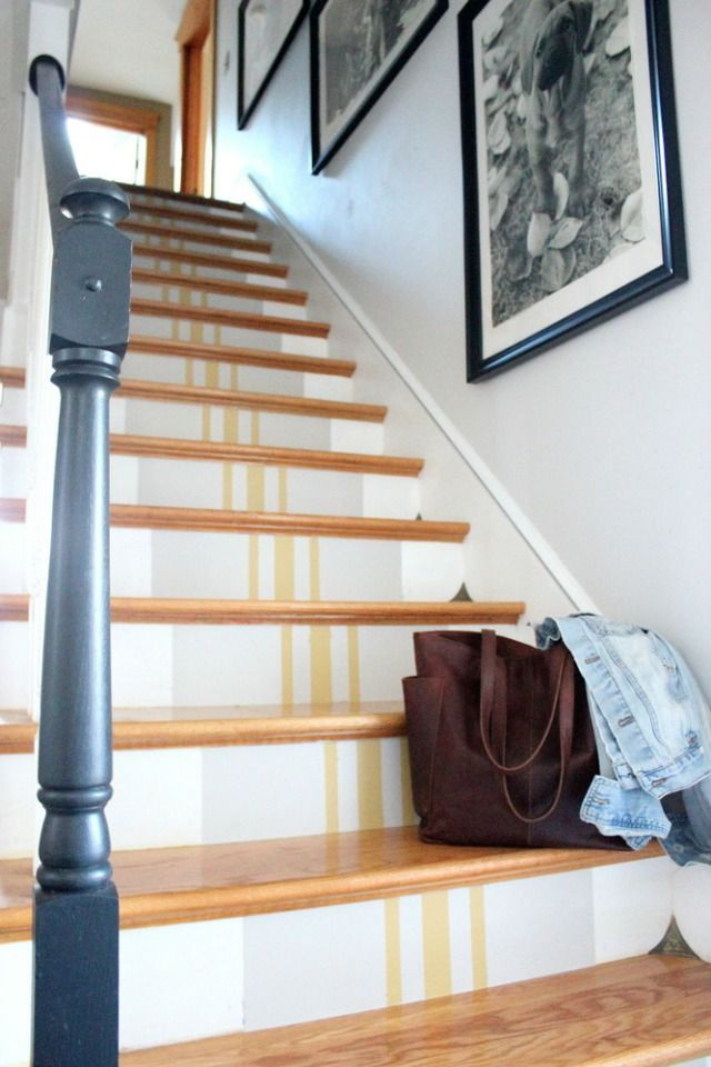 Eclectic Home Tour Tanya Clark - love the grain sack striped stairs eclecticallyvintage.com