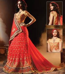 Buy Red embroidered georgette unstitched lehenga choli lehenga-choli online