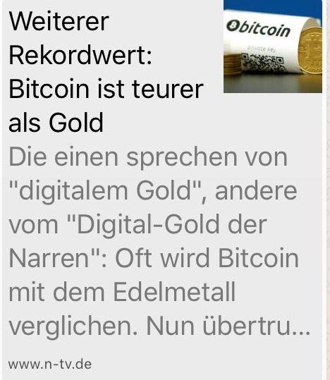 BITCOIN teurer als GOLD  http://www.n-tv.de/19729220 Jetzt noch durchstarten. Bitcoin Mining.  Schau dir die Videos an und danach lade ich dich zum Webinar ein Hier in Deutsch und Englisch.   http://petraeckstein.ilp24.com/41879