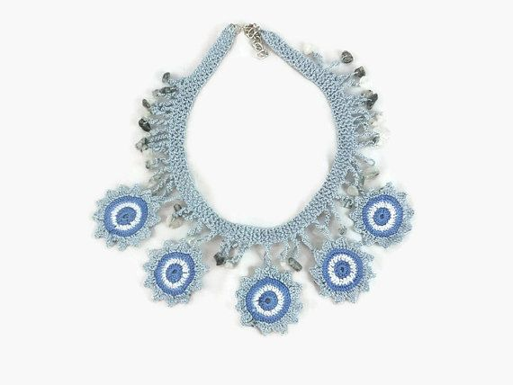 Statement Crohet flower Necklace - Knitted Summer Necklace      This elegant, unique  and delicate flower necklace is hand crocheted  with Turkish oya thread and intermixed with natural stone beads  .      This eye catching statemet flower  necklace makes a dramatic accessory to any strapless dress or chic   under a white tailored shirt.    Makes perfect gift for all occasions: Birthdays, anniversary, Christmas ...       Want this necklace in different colors ?  Custom orders welcome…