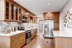 Transitional Kitchen with Spoons V Canvas Print, European Cabinets, Complex granite counters, Glass panel, Galley, Flush