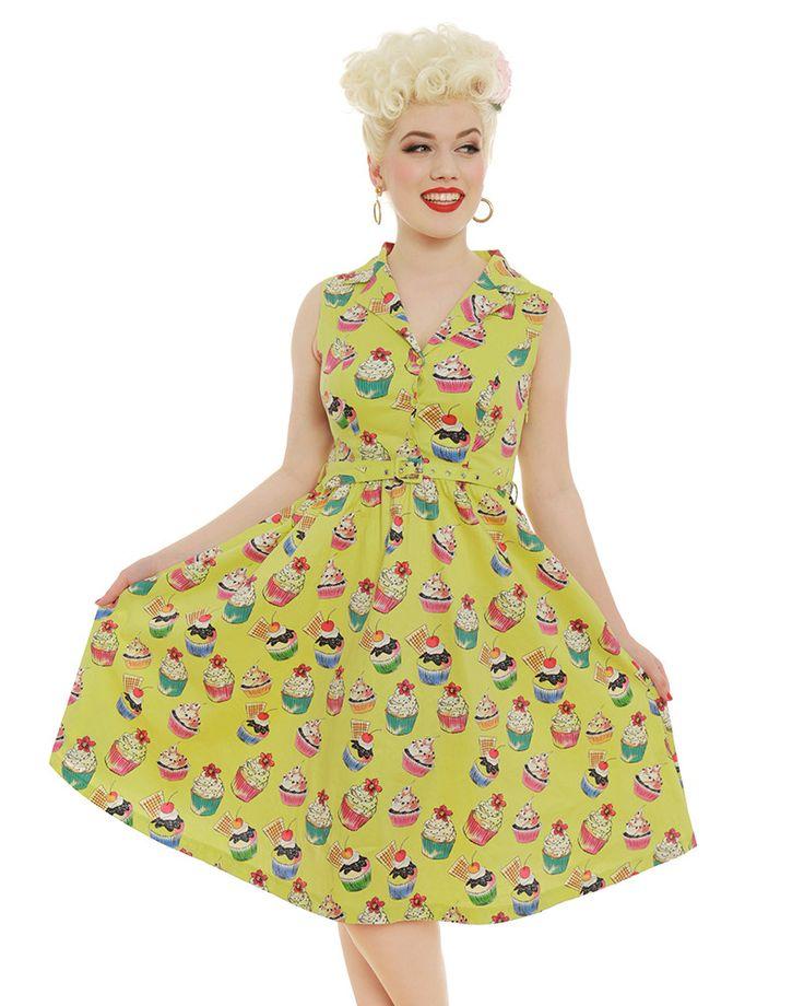 'Matilda' Lime Cupcakes Print Rockabilly Shirt Dress - Sale