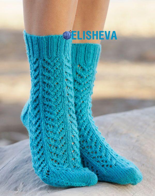 Ажурные носки с узором елочка от Drops Design, вязаные спицами