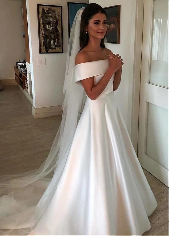 Lilybridalshop Chic Satin Off-the-shoulder Neckline A-line Wedding Dresses With Belt & Bowknot