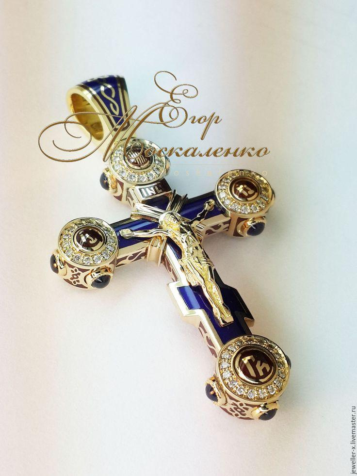 """Купить Православный """"русский"""" крест с горячей эмалью - православный крест, золотой крест, Горячая эмаль"""