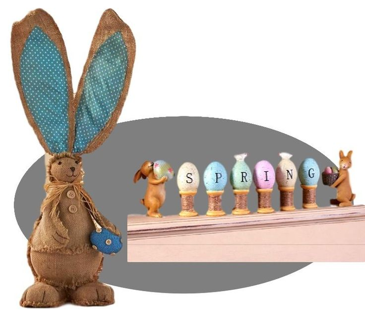 9 Pc Reversible Burlap Bunny Easter Egg Figurines Spring Table Classroom Decor #Unbranded