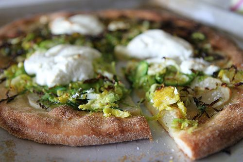 Potato, Brussels Sprouts and Goat Cheese Pizza via @Heather Christo
