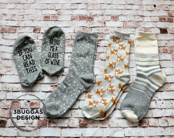 Bring me a glass of wine socks, bring me more beer socks, wine socks,funny gift,funny socks,more tea socks,coffee socks, dog wine socks #socks #wine #love #happy Funny #shop #etsy #handmade