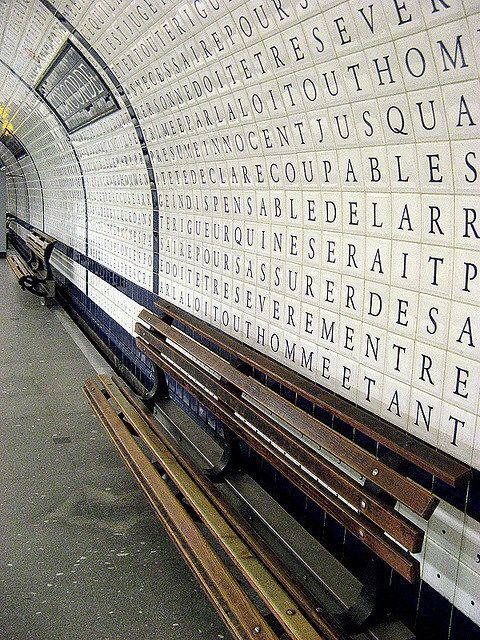 kitty-en-classe:  Concorde Métro Station, Paris The walls of the Concorde station on the platform for line 12were totally covered in 1989, ...