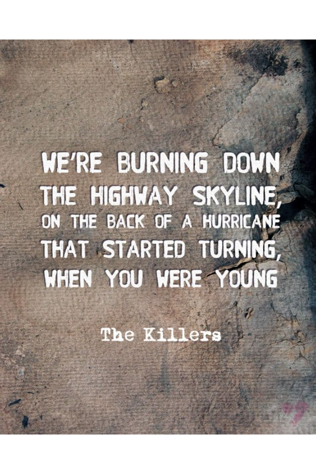 Etsy the killers print when you were young lyrics