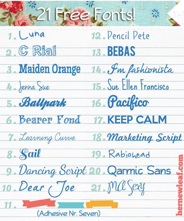21 free fonts