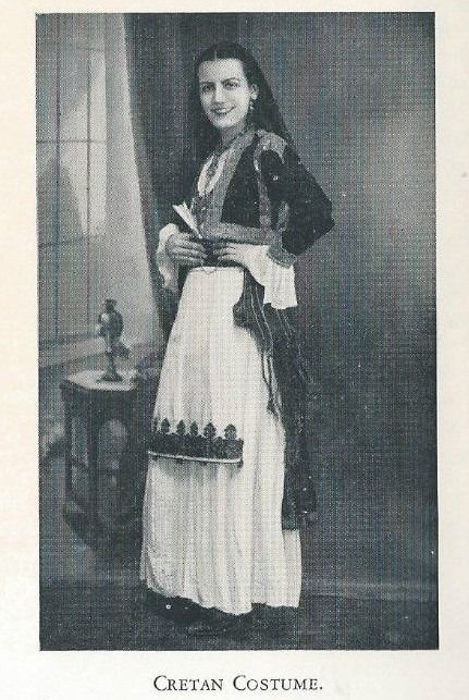 Cretan costume from the book: .Crete, Past and Present by M.N. ELLIADI
