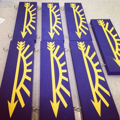 Our Pack made these for our Arrow of Light Ceremony! We also had small hooks and hung an arrow on the bottom award + Silhouette cut file