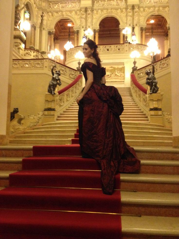 1886 fashion plate inspired evening gown. Photo taken in San Pellegrino Terme