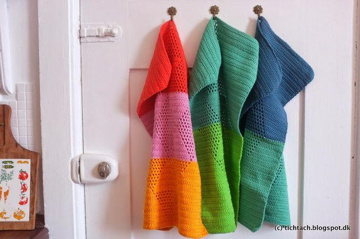 Crochet Pattern: kitchen towels with triangle pattern (in danish) #harlekinshåndklæder #tichtach