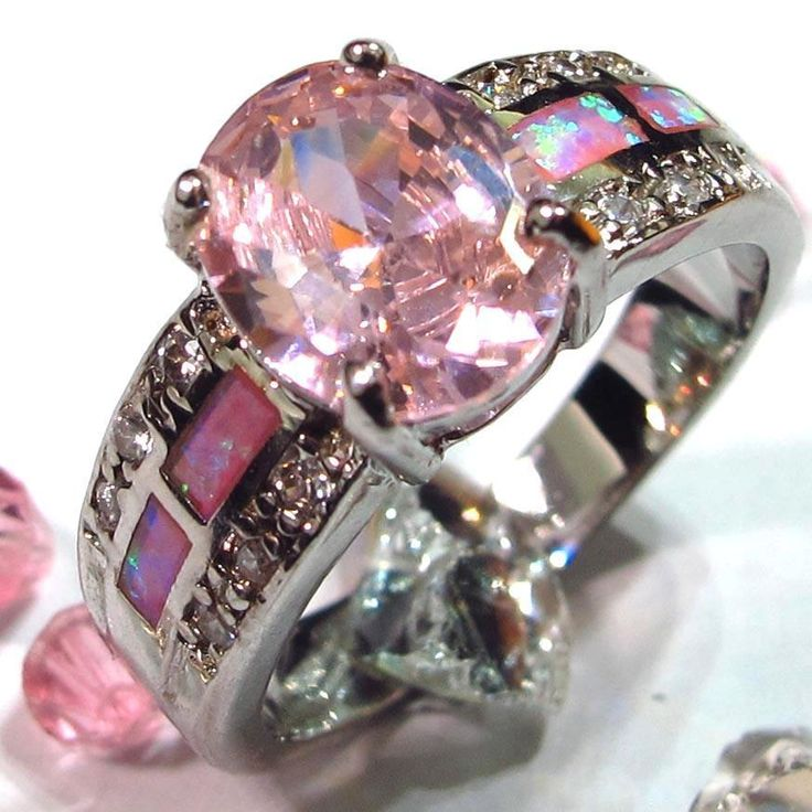 Purple Fire Opal Pink Crystal Silver Ring