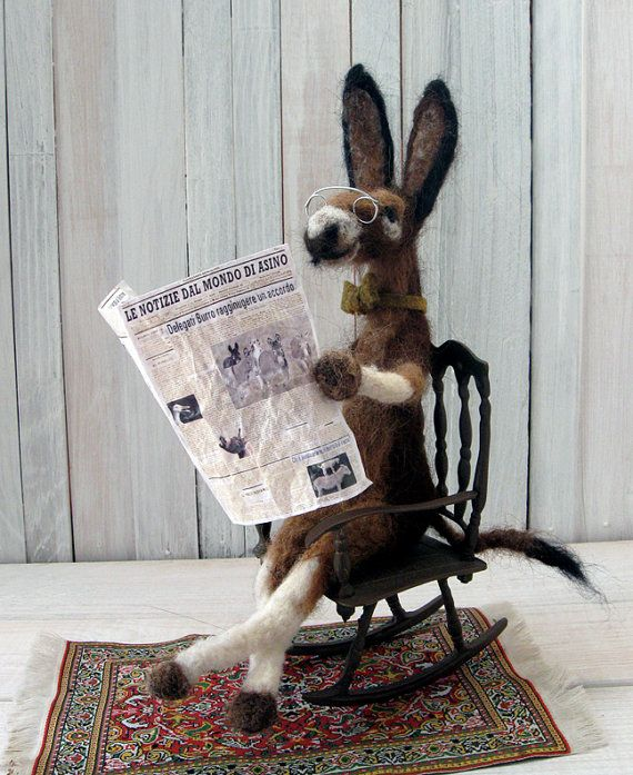 Needle Felted Donkey by IVANinHISgarden