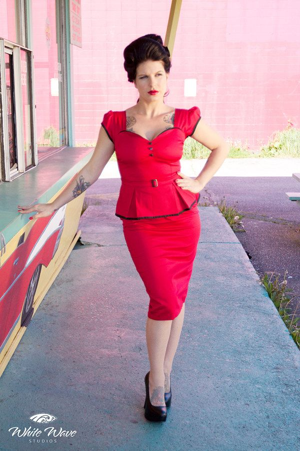 Pin up rockabilly red peplum dress by Hola Chica Clothing. $180.00, via Etsy.