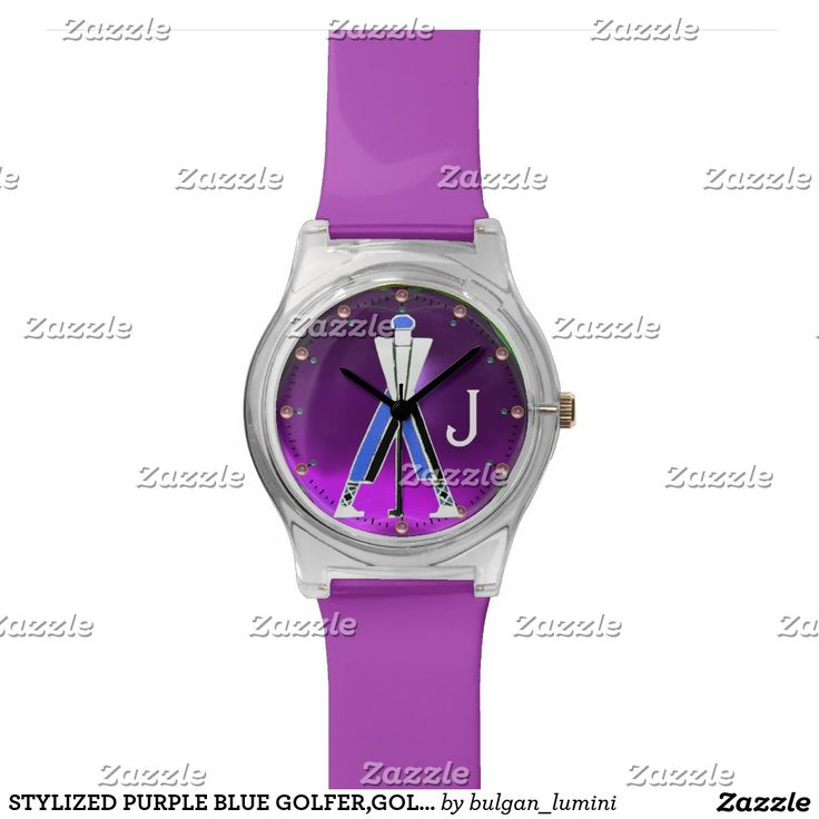 STYLIZED PURPLE BLUE GOLFER,GOLF PLAYER MONOGRAM WRIST WATCH  #golf #golfplayer #golfer #sport #fashion #sports #golfers