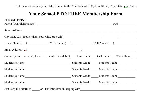 Free PTO membership form to send out to parents from the PTO Today File Exchange.