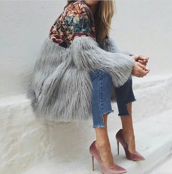 Bianco Fake Fur Pumps Women Pastel