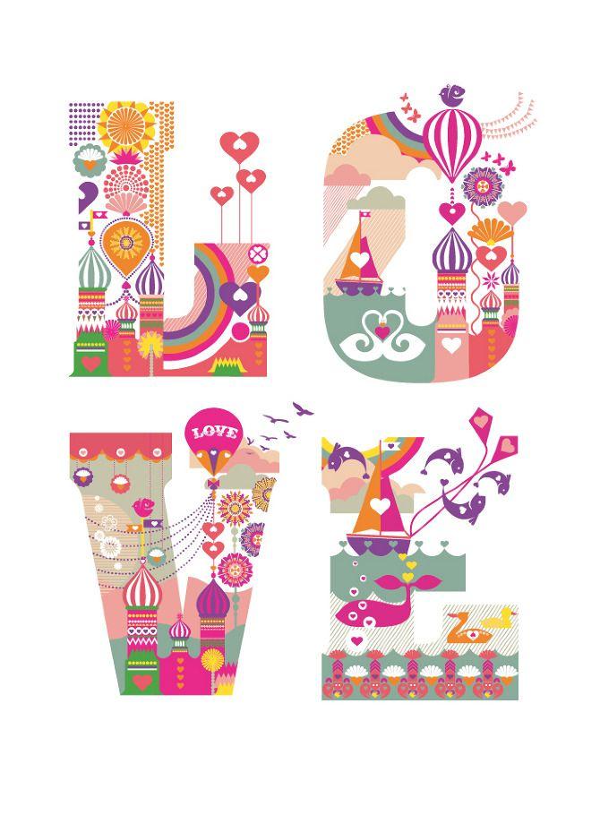 Nina Hunter's experimental typographic project celebrating Love.