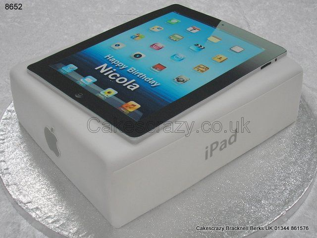 Another must have gadget recreated in cake. iPad cake with the device placed upon its box, sized the same as the real thing, comes complete with the message of your choice. Perfect for any gadget lover or Apple fan
