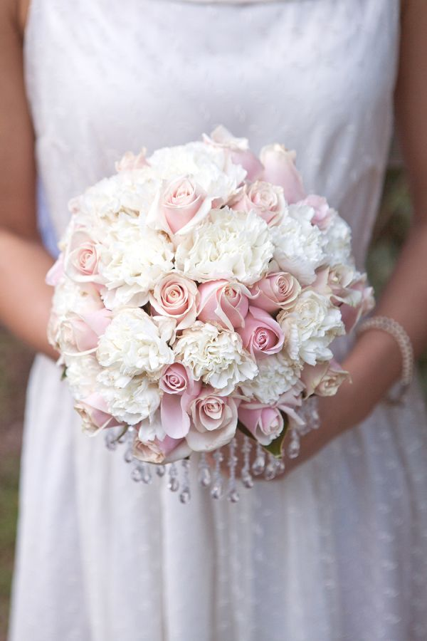 Light Pink Roses and Carnation Wedding Bouquet with Crystals – share in The Vault of Style Me Pretty