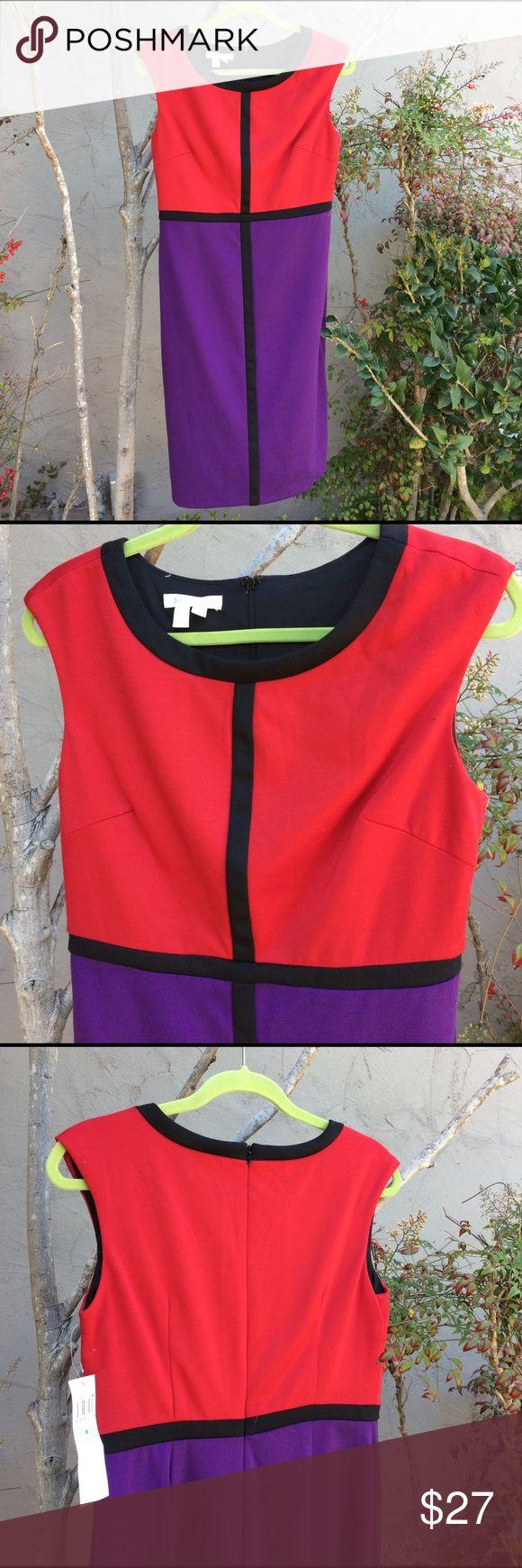 NWT LONDON TIMES DRESS! Pretty block print dress in red& purple with black trim! NWT SZ 8 sleeveless-zip up back made in Vietnam / polyester & spandex London Times Dresses Midi