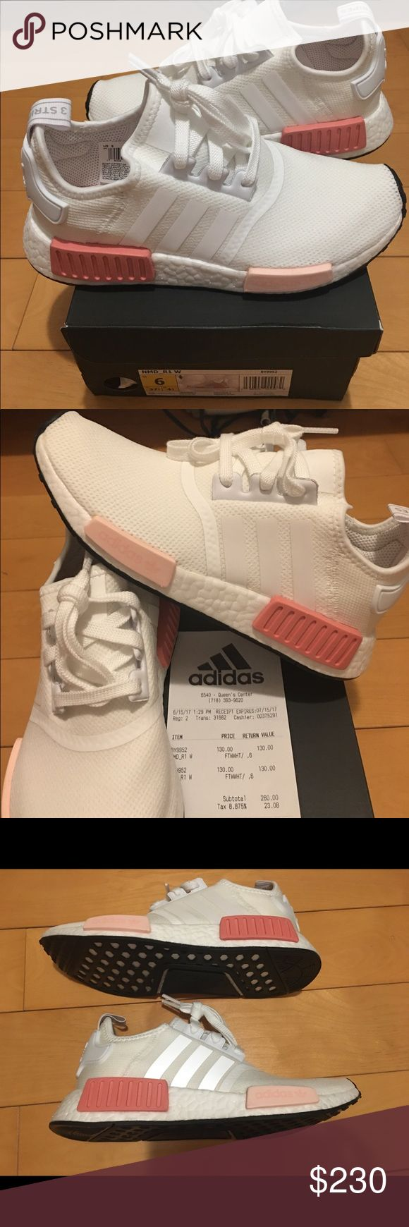 """Nmd R1 women size 6 """"ICY Rose """" New and authentic with original receipt. Size 6 in women .4 1/2 in Uk. White and pink colour .boost technology adidas Shoes Sneakers"""