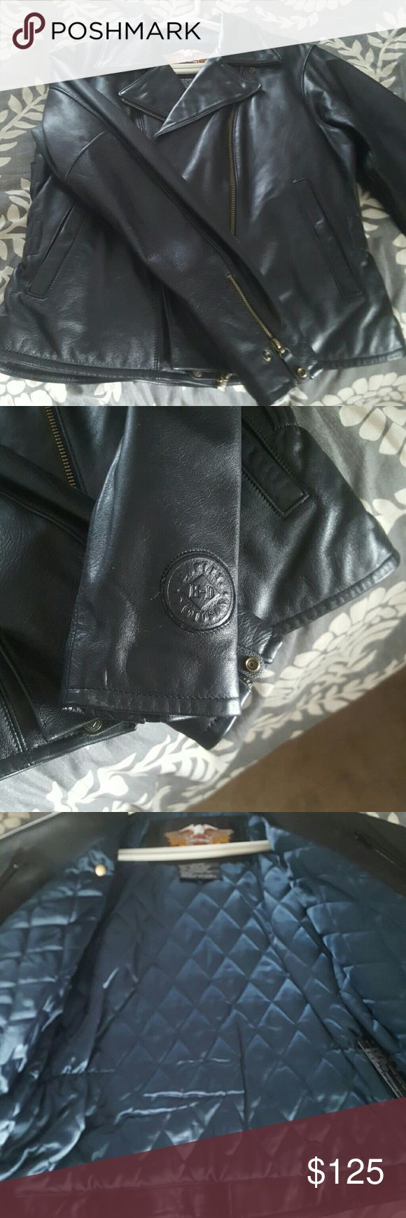 Authentic, genuine leather Harley Davidson jacket. Perfect for Christmas! Awesome detail in this genuine leather, authentic Harley Davidson jacket. Fully lined, two inside pockets, zippered cuffs. Excellent condition. Harley-Davidson Jackets & Coats Utility Jackets